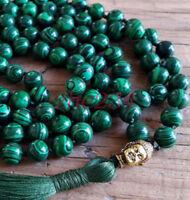 8mm Natural malachite green  108 Beads Necklace yoga Mala meditation