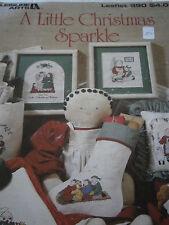1990 A Little Christmas Sparkle Cross Stitch Pattern Book Rag Dolls Leisure Arts