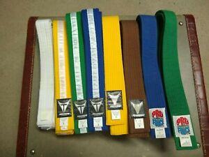 Lot of 8 Martial Arts Karate belts, Pro Force Thunder Lightning, Very Good