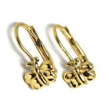 Boucles D'Oreilles Pendantes or Jaune 750 18K, de Fille, Papillons Martélées