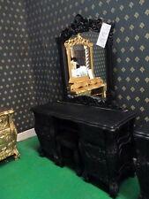 Gothic MATT BLACK DA CONSOLE ROCOCÒ + specchio e sgabello per Rococò Francese letto