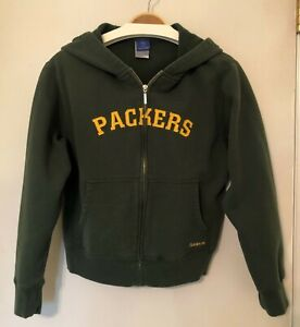 Green Bay Packers NFL Reebok Embroidered Full Zip Hooded Sweatshirt Youth Large