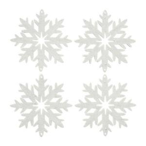 4tlg. Anhänger SCHNEEFLOCKE weiß mit Glitzer Glitter Baumschmuck Weihnachten