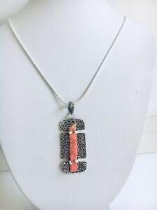 Sea Sediment Jasper Pendant 76.2mm with 925 Silver Plated Necklace 55.8cm