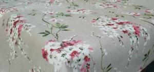 PLAIN FLORAL CHERRY BLOSSOM GREY PINK WHITE FLOWERS PVC OIL VINYL TABLE CLOTH