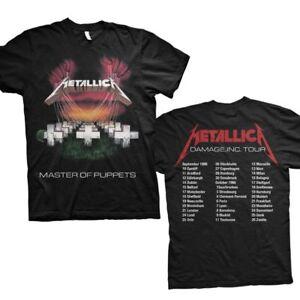 Metallica T Shirt Master of Puppets European Tour 86 Official Black Metal MOP