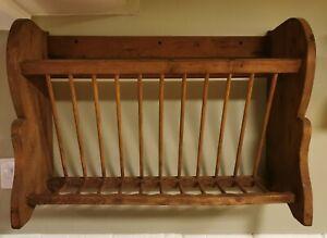 Old antique wooden plate rack