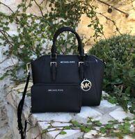 NWT Michael Kor Medium Ciara Satchel handbag/wallet options black&Silver