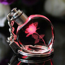 Red Heart Shaped Rose Fairy Crystal LED Light Keychain Key Ring Phone Charms