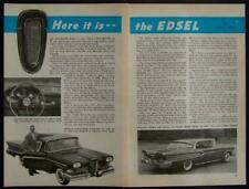 """Ford Edsel """"Here it is"""" 1957 Review Road Test pictorial"""