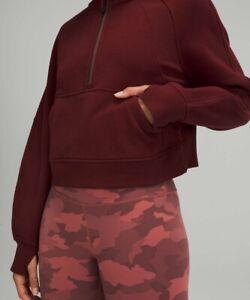 New W Tag Lululemon Oversized Scuba Hoodie half Zip in red merlot Rare XS/S