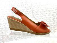 Softspots Women's Size 6M Orange Bow Peep Toe Slingback Wedge Sandal