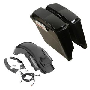 """5"""" Stretched Extended Saddlebag Rear Fender Fit For Harley Street Glide 09-13 12"""
