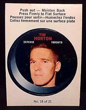 TIM HORTON 1968-69 O-Pee-Chee PUCK Sticker Card #18 RARE Vintage NICE Toronto L1