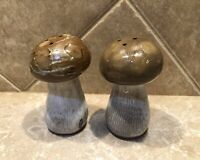 Mid Century Redware Gray & Brown Mushroom Salt and Pepper Shakers MADE IN JAPAN
