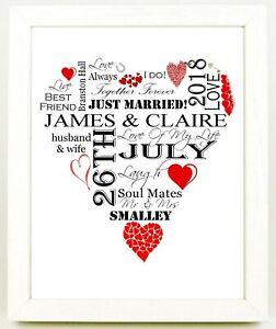 Personalised Word Art 10x8 WEDDING Anniversary RED HEART Shape Framed Print Gift