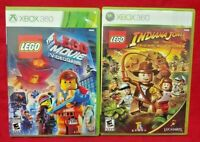 LEGO Movie Game + Lego Indiana Jones - XBOX 360 Games Rare Lot Tested + Working