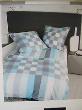 Janine Mako satin Linge de lit 135x200 Ensemble de lit bleu carreaux gris coton