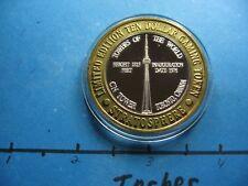 CN TOWER TORONTO CANADA 1996 STRATOSPHERE CASINO RARE 999 SILVER $10 GAMING COIN