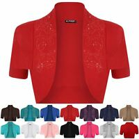 Plus Size Ladies Womens Cap Sleeves Bolero Cropped Open Beaded Sequin Shrug Top
