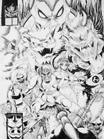 COMMISSION Original Comic Artwork Pinup - black and white 8.5 x 11 Manga anime