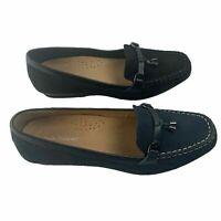 Hush Puppies Udela Womens Flats Navy Black Leather Nubuck Work Dress Shoes