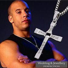 Mens Chain Necklace Silver Crystal Cross Pendant Rosary Jesus Men's Chunky Steel