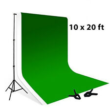 10x8.5 ft  Backdrop Support Stand 10x20 ft Chroma Key Green + White Muslin