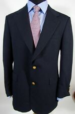 Stafford Mens Blazer Navy Blue100% Wool Two BTN Sportcoat 40R Gold Metal Buttons