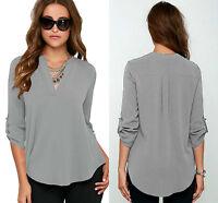 New Ladies Grey V Neck Chiffon Top Long Sleeve Loose Casual T Shirt Blouse 8-16