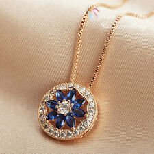 18K Rose Gold Plated Made With Swarovski Crystal Round Sapphire Flower Necklace
