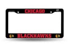 Chicago Blackhawks BLACK CUSTOM PLASTIC License Plate Frame Tag Cover Hockey