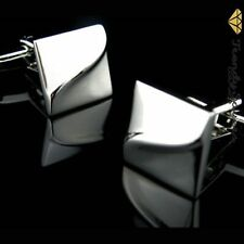 Quality Men's Silver Square Pattern Wedding Best Man's Groom's Cufflinks  #31