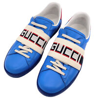 Gucci Authentic Blue Logo Print Low Top Elastic Strap Sneakers 8 US 9 W/ Box