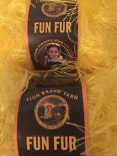 2-Lot LION BRAND FUN FUR Eyelash Yarn 158 Bright Yellow 64yd 1.75 oz SHIPS FREE!