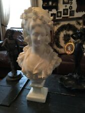 """LOVELY ANTIQUE ALABASTER LADY BUST FINELY DETAILED 20"""" Tall"""