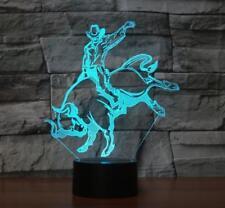 Desk Lamp Touch Room Decor Gift 7 Color Change LED 3D Bull Rider Night Light