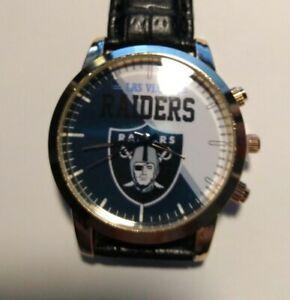 Las Vegas Raiders NFL Custom Leather Band Wrist Watch NEW