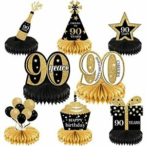 8 Pieces 90th Birthday Decorations Set Happy 90th Honeycomb Centerpieces Tabl...