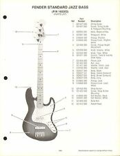 VINTAGE AD SHEET #3572 - FENDER GUITAR PARTS LIST - STANDARD JAZZ BASS, 192302