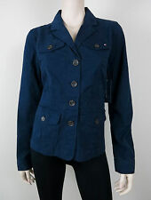 NWT $79 TOMMY HILFIGER New Masters Jacket Button Front 110% Cotton Navy Blue 10