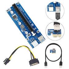 PCI-E USB3.0 1x a 16x GPU Extender Riser Tarjeta de Adaptador 6 Pin Bitcoin