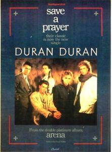 "1984 Duran Duran ""Save A Prayer"" Song Release Reproduction Promo Print Ad"