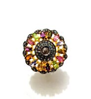 Multi Tourmaline Handmade Ring Pave Diamond Ring Bridal Gift 925 Silver Ring