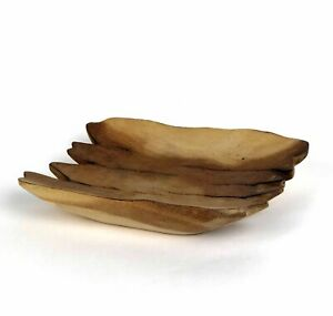 Handcrafted Hand Carved Wood Rustic Tray Dish Plate Platter Primitive Natural