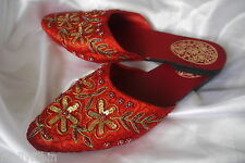 Red sequin trim satin flat mules sandals slip on slippers Uk size 5