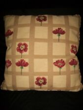 "Red Poppies Windowpane 24"" Square Couch Bed Decorator Pillow Brocade Trim Beige"