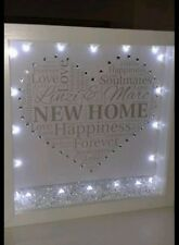Personalised New home 3D box frame  gift with lights, diamantes & crystals