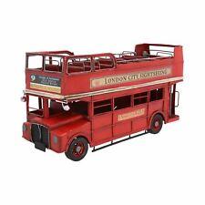 Open Top London Double Decker Bus Metal Ornament Model Sculpture Decoration