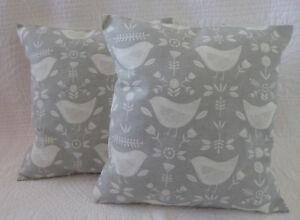 2 Cushion Covers 16 inch Scandi Bird Print Grey Cream Rustic New Handmade 40cm